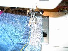 How to hem jeans and keep the original hem.