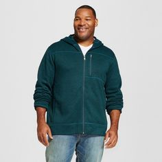 Men's Big & Tall Sweater Fleece Hoodie Teal (Blue) Xxl Tall - Merona, Size: XL Tall