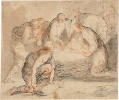"""José de Ribera, """"Nocturnal Adoration of the Shepherds"""", Early 1640´s. Chalk and wash, 165 x 195 mm. Liverpool, National Museums Liverpool, Walker Art Gallery, Purchased with the assistance of the Art Fund in 1992."""