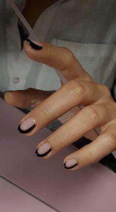 nails with black details \ details nails . nails with details . nails with red details . nails with black details . details on nails Minimalist Nails, Two Color Nails, Nail Colors, Cute Nails, Pretty Nails, Hair And Nails, My Nails, Red Tip Nails, Pink Nails