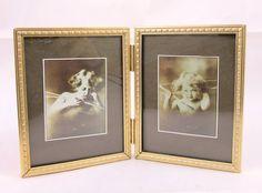 Cupid Awake Cupid Asleep Sepia Toned Prints in Brass Folding Frame