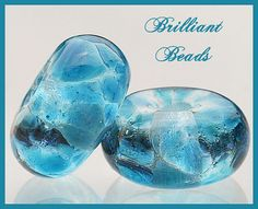 Caribbean Blue Glass Spacer Bead PairHandmade by Gillianbeads, $4.00