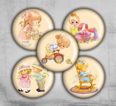 1 inch circles with Vintage Children on Printable Collage Sheet made by FrezeArt