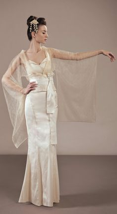 "Amaterasu unique wedding dress Japanese inspired look at. The lightness of this ""coat"""