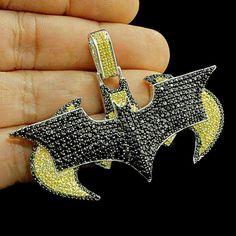 Round Cut Citrine & Black Diamond White Gold Over Batman Logo Pendant Grillz, Round Cut Diamond, Round Diamonds, Citrine Pendant, Diamond Pendant, Sapphire Pendant, Black Diamond Jewelry, Birthstone Pendant, Luxury Jewelry