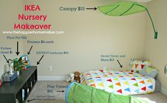 ikea nursery montessori style bright colors floor bed tunnel expedit canopy