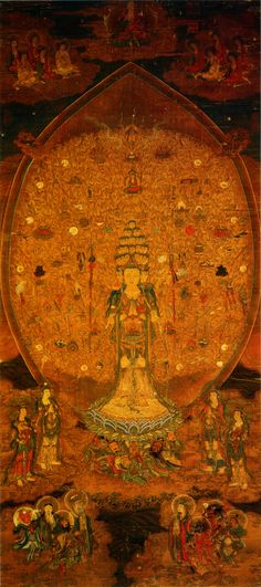 http://en.wikipedia.org/wiki/File:GuanYin_of_a_Thousand_Arms_and_Eyes.jpg  Date:12th century  Source:National Palace Museum, Taipei  Author:Annonymous Chinese