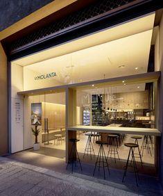 Perers-Barcelona-Spain/ cafe shop design, shop front d Shop Front Design, Design Garage, Cafe Shop Design, Cafe Interior Design, Bakery Design, Store Design, Deco Restaurant, Restaurant Design, Bar Lounge