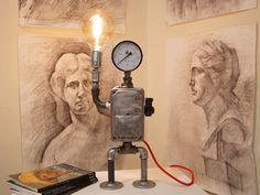 robot art desk lamp with vintage switch, Retro robot art desk lamp with vintage switch, Retro robot art desk lamp with vintage switch,