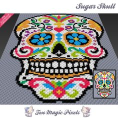 Sugar Skull is a graph pattern that can be used to crochet a blanket using C2C (Corner to Corner), TSS (Tunisian Simple Stitch) and other techniques. Alternatively, you can use this graph for knitting, cross stitching and other crafts. This graph design is 79 squares wide by 100 squares high. It requires 9 colors plus 1 optional color for the background. Pattern PDF includes: - color illustration for reference - color squares pattern Images only. There are NO written counts or step-by-ste...