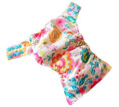 White Colorful Floral XS Newborn AIO Cloth Diaper with a Bamboo Organic Cotton soaker pad