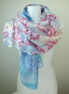 Handpainted silk scarf shibori & painted by HeronDesignStudio made to order/bespoke