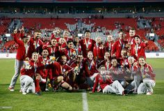 July 12 - The Canadian men's and women's Rugby 7 teams pose for a picture after they both won the gold medal on Day 2 of the Toronto 2015 Pan Am Games on July 12, 2015 in Toronto, Canada.