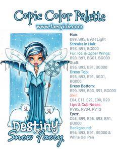 Destiny Snow Faery Copic Color Palette by Amanda S Byron www.FaeryInk.com