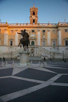 Michelangelo's Piazza del Campidoglio - replica of the equestrian statue of Marcus Aurelius (original in Capitoline Museum - see later photos).