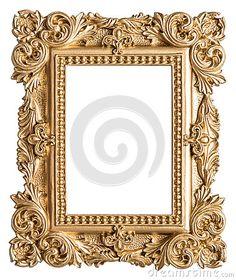 Estilo barroco da moldura para retrato dourada Objeto da arte do vintage