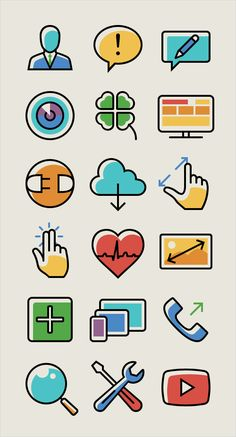 This responsive and mobile icon set, designed by the folks behind Iconshock and Designshock, consists of 100 individual icons merging outlined as well as flat styles, all vectors built in Photoshop, in four transparent PNG image sizes and available in two color versions: a limited cold palette and a warm colorful one. The vector editable source files are included.