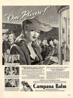 """1942 Campana Lip Balm Original Print Ad -An original vintage 1942 advertisement, not a reproduction -Measures approximately 10"""" x 13"""" to 11"""" x 14"""" -Ready for matting and framing."""