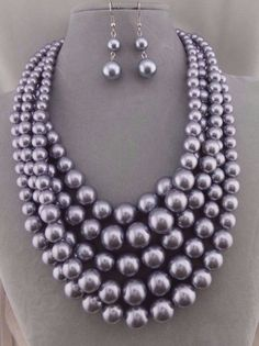 Chunky Layered Grey Synthetic Pearl Necklace Set Silver Fashion Jewelry NEW #Alle