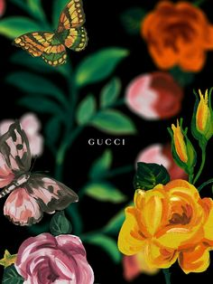 Gucci art, creative, painting, picture, butterfly, flowers, pink, yellow, rose, Gucci