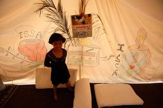 Drawings on the tents of Syrian refugees.