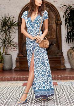 Deep V Neck Short Sleeve Floral Printed Split Maxi Dress Plus Size Maxi Dresses, Dresses For Teens, Dresses Dresses, Long Dresses, Nice Dresses, Short Beach Dresses, Short Sleeve Dresses, Short Sleeves, Side Slit Dress