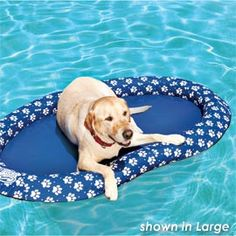Now the whole pack can lounge in the pool! This float is heavy-duty, puncture-resistant vinyl that is paw and claw friendly. A buoyant bumper all around adds stability while making it easy for her to stay on board. Opens and closes easily with spring construction; a jet valve makes for quick inflation and deflation. Bright blue with white paw prints.