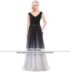 Find More Prom Dresses Information about Hot New Ombre V Neck Prom Dresses 2016 Evening Gown Sashes Chiffon Dress Vestido De Festa Lace up A line Long Prome Dress,High Quality dress womens,China dresse Suppliers, Cheap dresses women over 40 from OkBridal Dress Co.,Ltd on Aliexpress.com