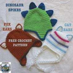 Dinosaur Spikes, Fox Ears, and Cat Ears - Free Crochet pattern from Tugboat Yarning to add to any hat!