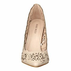 """Pointy toe pump with cut out detailing on a 4"""" heel."""