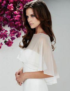 Cheap Ivory Chiffon Wedding Bolero Bridal Cape Short O-neck Wedding Wraps Jacket…