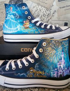 Disney hand painted shoes Disney shoes Cinderella castle