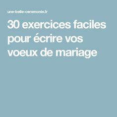 30 exercices faciles pour écrire vos voeux de mariage