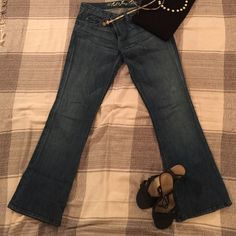 Juicy Couture Heart Jeans These beautiful jeans are so cute with its heart designs and pockets. No stretch at all. Juicy Couture Jeans