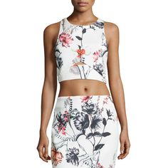 State Of Being Hummingbird Floral-Print Crop Top ($21) ❤ liked on Polyvore featuring tops, multi, cut out crop top, white sleeveless top, open back crop top, open back tops and white cut out top