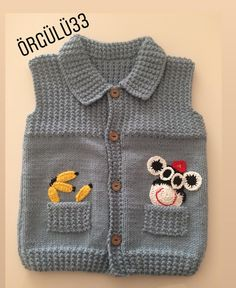 A nice vest for our little gentlemen 🐾🧸 My gray monkey-themed vest … - Babykleidung Baby Boy Knitting Patterns, Baby Sweater Knitting Pattern, Knit Baby Sweaters, Baby Hat Patterns, Baby Clothes Patterns, Vest Pattern, Boys Sweaters, Clothing Patterns, Sweaters For Women