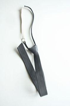 Vintage dark grey leather tie by TurquoiseFlamingo on Etsy
