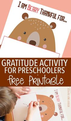 Help preschoolers learn to be thankful with this creative gratitude activity inspired by Bear Says Thanks! A super cute free printable that is perfect for the kids' Thanksgiving table too.