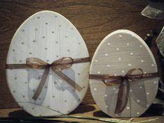 2 Ostereier,  Eier-Set aus Holz im Shabby Chic