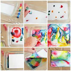 Science for Kids - Marbled Milk Paper Can't do it at school because of the milk, but fun science and art! Projects For Kids, Diy For Kids, Art Projects, Crafts For Kids, Arts And Crafts, Paper Crafts, Paper Paper, Kid Science, Summer Science
