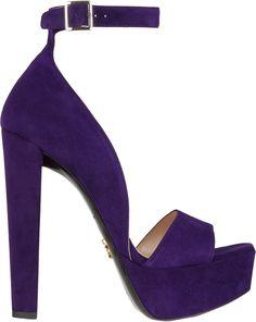 Prada Suede Anklestrap Platform Sandals in Purple  | my sexy shoes 1