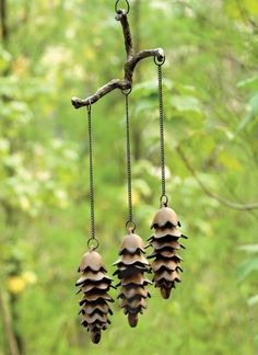 Cast Iron Triple Pine Cone Wind Chime - The Green Head