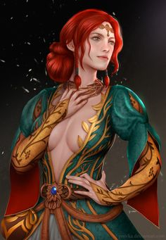 ynorka: My other Witcher series fan art. Triss Merigold's alternative look. Get this print!