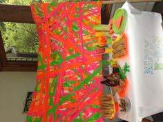 Neon party table, made with neon duct tape