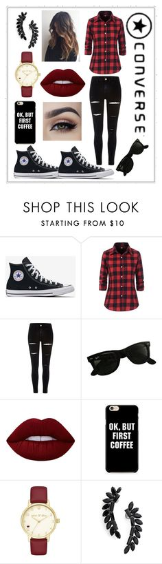 """""""#Converse #lover ♥"""" by vehapi-miralema ❤ liked on Polyvore featuring River Island, Ray-Ban, Lime Crime, Kate Spade and Cristabelle"""