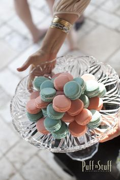 Sweet Macarons for a baby shower reveal! | Puff 'n Stuff Catering | Tampa + Orlando, FL  | puffnstuff.com | Photo by Sara Kauss #dessert #babyshower #pink #blue