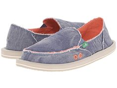 e625097b81c Sanuk Donna Distressed (Slate Blue) Women s Slip on Shoes. Bring the  patented personality