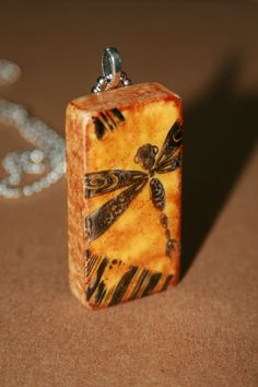 Dragonfly Domino Pendant Necklace by Bazotic via Etsy