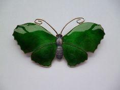 John Atkins & Sons Large Sterling Silver Enamel Butterfly Brooch 1918