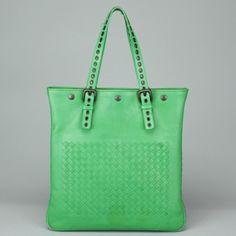 BOTTEGA VENETA Green Esperanza Intrecciato Shiny Calf Aquatre Tote Handbag AC708 | eBay